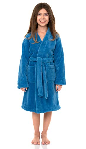 TowelSelections Little Girls' Robe, Kids Plush Kimono Fleece Bathrobe Size 4 Cendre Blue