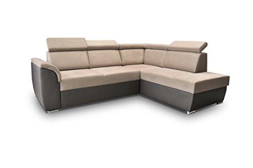 Canapé d'angle 4 places Beige Tissu Confort