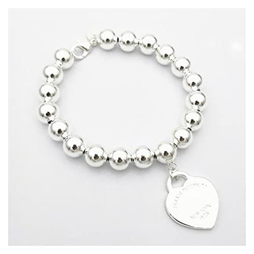 WJCRYPD Pulseras para Mujer Silver 925 Classic Moda Silver Heart Card 8mm Redondo Beads Ladies Pulsera Joyería 22 cm Qf Shop (Color : 17cm)