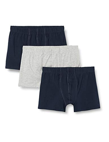 NAME IT Jungen NKMTIGHTS 3P SOLID NOOS Boxershorts (3-er Pack), Mehrfarbig (Grey Melange), 110