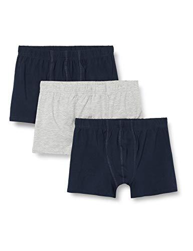 NAME IT Jungen NKMTIGHTS 3P SOLID Grey Melange 2 NOOS Boxershorts, 134-140