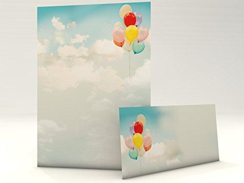 Wolken Himmel Freiheit Motivpapier Set mit Umschlag Luftballons 20 Blatt A4 und 20 passende Kuverts