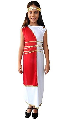 Traje romano antiguo - blanco - niña 7 disfraces para niños - halloween - carnaval - 8 años - diosa griega - fiestas - talla l - idea de regalo original