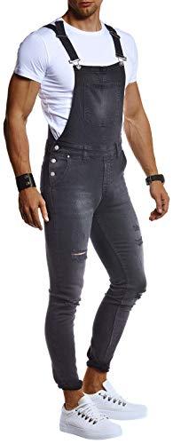Leif Nelson Herren Jeans Latzhose Stretch Hose Slim Fit Basic Lange Jeanshose für Männer Denim Overall Jungen weiße Freizeithose Jumpsuit Chino Cargohose LN9450 Schwarz W32L32