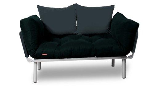 EasySitz Schlafsofa Sofa 2 Sitzer Kleines Couch 2-Sitzer Schlafsessel für Zweisitzer Personen Mein Futon Sitzen EIN Einer Farbauswahl (Schwarz & Anthrazit)