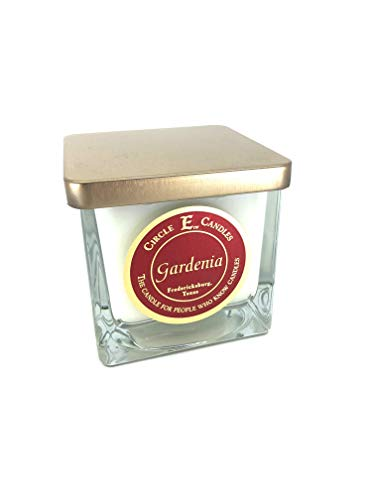 Circle E Gardenia Scented Jar Candle | Size 8oz | 40 Hour Burn Time | 1 Wick | Wax Color Pearl White | Glass Jar | Made in USA