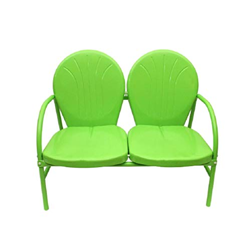 47' Lime Green Retro Metal Tulip Outdoor Double Glider