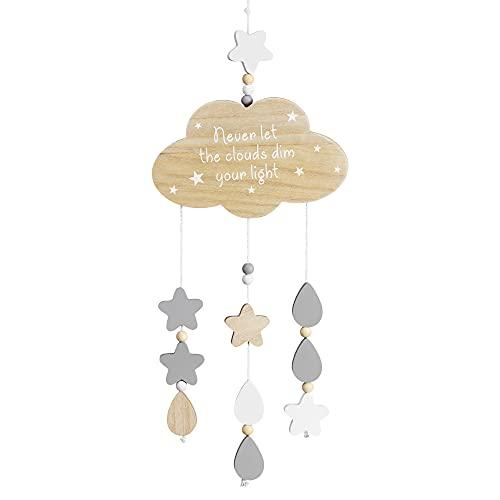 Navaris Nube Colgante de Pared Infantil - Guirnalda de Madera para habitación Juvenil de niño niña bebé - Adornos Infantiles de Nubes y Estrellas