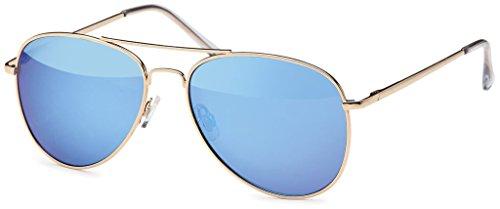Hatstar Pilotenbrille Verspiegelt Fliegerbrille Sonnenbrille Brille mit Federscharnier (83 | Rahmen Gold - Glas Blau verspiegelt)