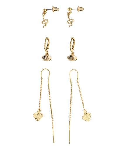 SIX Trendy 647-769 - Pendientes de aro chapados en oro con forma de corazón y serpiente para mujer