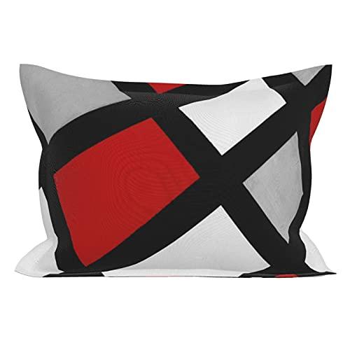 Fundas de almohada de microfibra, transpirables, ultra suaves, geométricas, rojo, gris, negro, blanco, tamaño estándar (50,8 x 66 cm) con cierre de sobre