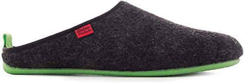 Andres Machado Unisex Hausschuhe in Schwarz für Damen/Herren - Sommer/Winter – Pantoffeln Dynamic – Oberteil aus Wolle und Filz – rutschfeste grüne Gummisohle und herausnehmbares Fußbett EU 39