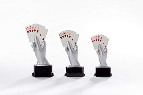 Henecka Poker, Skat, Rommee, Canasta, Bridge, Mau-Mau -Pokal, Resinfigur Kartenspiel, Silber weiß und rot, mit Wunschgravur, Größe 20 cm