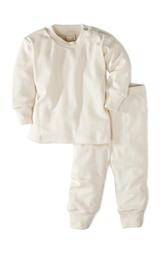 hessnatur Baby Mädchen und Jungen Unisex Schlafanzug aus Reiner Bio-Baumwolle Natur 98/104