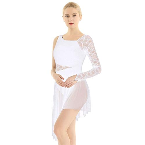 Ballettkostüm Erwachsene Einzel-Lange Hülsen-Spitze Gymnastik Trikot for Frauen Eiskunstlauf Kleid Contemporary Ballet Lyrical Tanz Kostüme (Color : White, Size : L)
