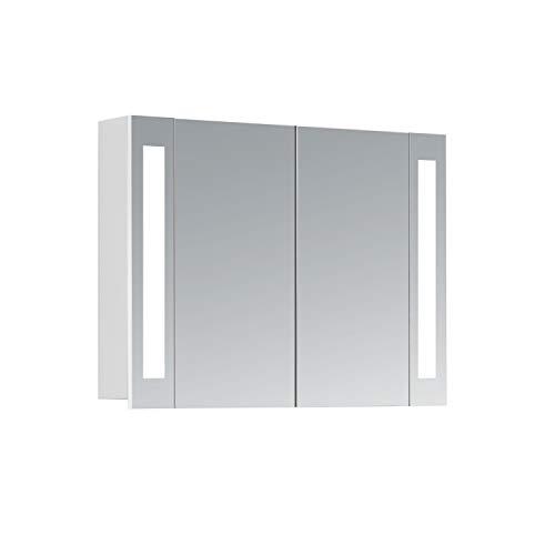 HAPA Design Spiegelschrank Venedig weiß mit LED Beleuchtung 12W 4000K, VDE Steckdose, Softclose Funktion und verstellbaren Glas Ablagen. Komplett vormontiert. SGS geprüft. (80 x 60 x 14 cm 2-türig)