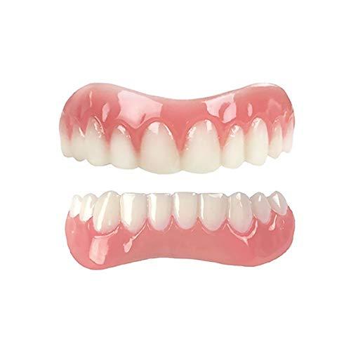 Gnohnay Denti Finti Cosmetici Comfort Fit, Protesi per Strumenti di Bellezza, Dente Temporaneo per Copertura a Scatto dei Denti Mancanti (Confezione Regalo Gratuita per Protesi),Upper And Lower