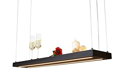 LED Hängelampe | Perfekt über dem Esstisch | Pendelleuchte holz | Edles Design | aus massiver Räuchereiche | als Regal verwendbar | Dimmbar | (Räuchereiche 80 cm)