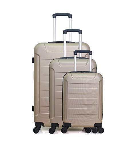 Wave Paris - 3 Elbe Koffer- Set Beige - Komplettes Kofferset - EIN großer Koffer, EIN mittelgroßer Koffer für das Wochenende, EIN Kabinenkoffer - 4 Rollen,...