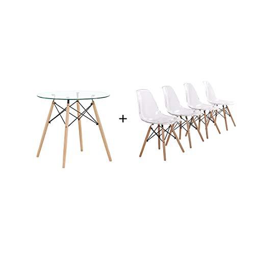 H.J WeDoo Esszimmergruppe Moderner Glastisch Rund Esstisch mit 4 Transparent Stühlen Geeignet für Esszimmer Küche Wohnzimmer
