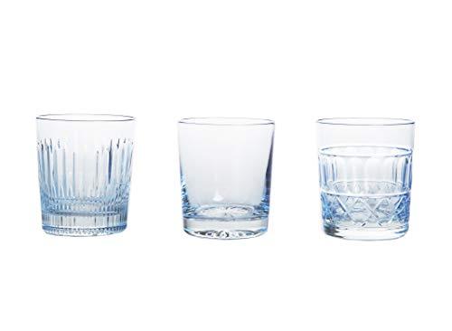 crystaljulia 14694Bicchieri Da Whisky 3er Set, Cristallo al piombo, Azzurro