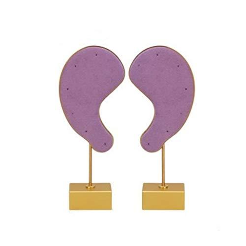 ZHUSHI 2 Piezas Un Juego Pendientes de Terciopelo de Metal con Forma de Oreja Soporte de exhibición Pendientes de Soporte de exhibición de Anillo (Color : Purple)