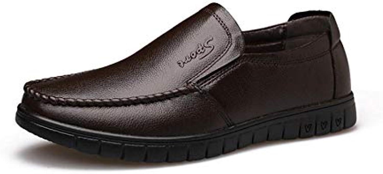 Yiyu herrar läder skor Andningsbara Casual skor skor skor Cowhid medelålders Fader skor Comfortable Non -Slip Wear Resistent  kvalitetsprodukt