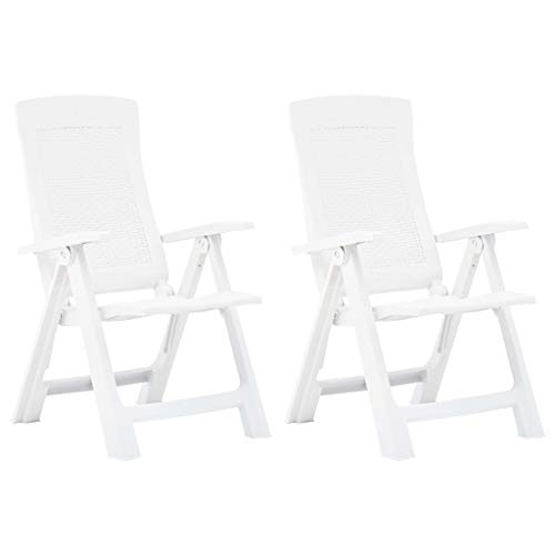 Tidyard Garden Reclining Chairs | 2 pcs Plastic Bistro Chair | Outdoor Armchair Furniture Seat | Folding Chair White