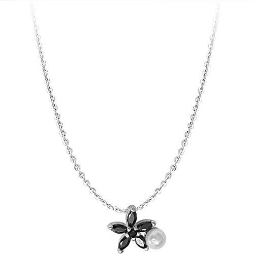 『甘い銀色のデイジーの花のネックレスの女性の黒ジルコン梨鎖骨チェーンチョーカー-』の1枚目の画像