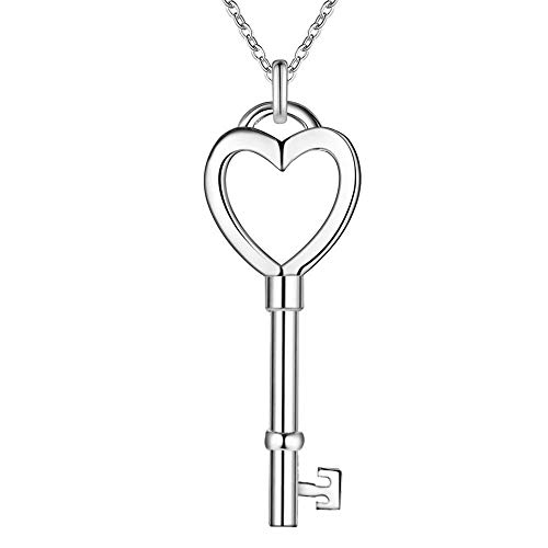 FENGMEI En Forma de corazón de Las Mujeres Collar de Plata Colgante Plateado Diseño Simple Llave de Plata del Estilo 4X1.4X45CM