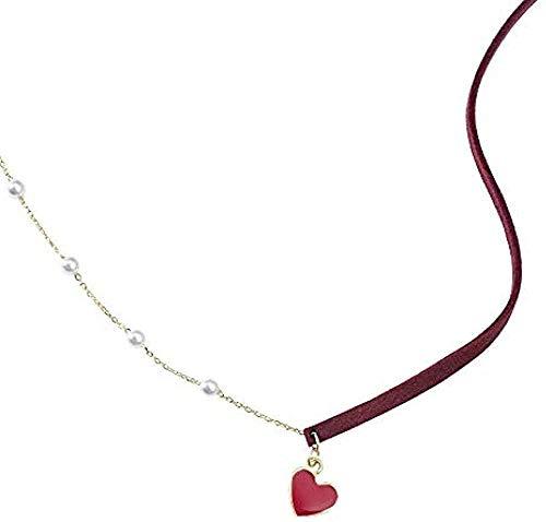LKLFC Collar Mujer Collar Hombres Colgante Collar Amor Collar Mujer Llavero Cadena de Hueso Collar Corto niñas niños Regalo