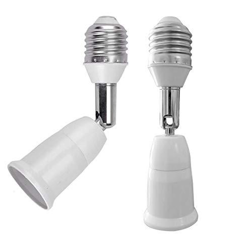 E26/E27 Standard Medium Light Socket Extender & Adjuster w/Vertical 90° Horizontal 360°, 100V - 250V, Max 150W 4.5 Inch Extension (Pair)
