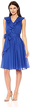 Calvin Klein Women's Solid Cotton a Line Dress with Self Sash