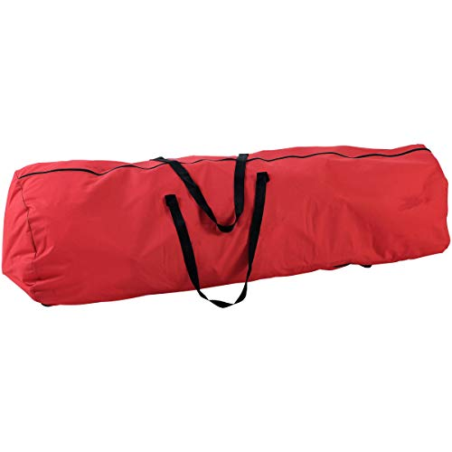 Christmas Tree Bag. Best After Holiday Season Decor Removal Heavy Duty Storage Container to Cover Tabletop Or Upright Artificial Xmas Fake Tree, Keeper, Fiber Optic. Handheld Red Rolling Duffel 7.5ft.