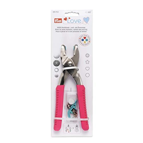Prym pink Love Vario-Zange mit Loch-/Color Snaps Werkzeug, Stahl, 19 cm