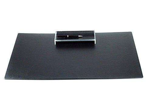 DELMON VARONE - Personalisierbare Schreibtischunterlage XXL aus Premium Leder Boxcalf schwarz, Rutschfeste Echtleder Schreibunterlage abwaschbar, Schreibtisch Unterlage ideal als Mousepad, 65 x 45 cm