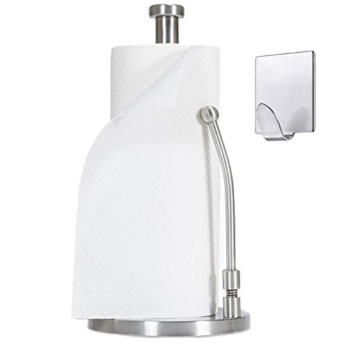 Dearworth Paper Towel Holder StandStainless Steel Dispenser Easy to Tear Kitchen Bathroom CountertopWeighted BaseSturdy Spring Arm for Standard Rolls Size –Come with M3 Selfadhesive Wall Hook