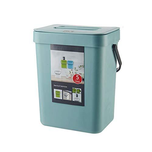 Cubo De Abono De Cocina, Bote De Basura De Plástico Ligero Montado En La Pared con Tapa para Encimera De Interior Al Aire Libre Debajo del Fregadero Baño   Cubo De Basura Colgante,5L (Blue)