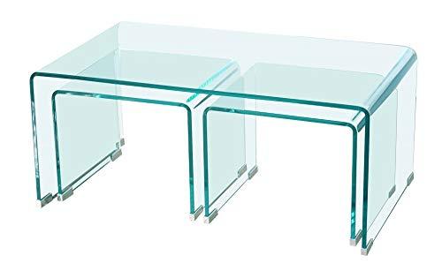 HABITMOBEL Mesa de Centro Nido - Tres mesas, Cristal Curvado