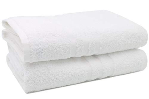 ZOLLNER 2er Set Badetücher, 100x150 cm, 100% Baumwolle, 550g/qm, weiß