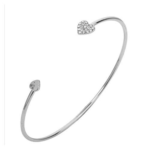 Gszpxf Moda Ajustable Cristal Doble corazón Bowknot Chain & Link Bracelets Mujer Joyería Regalo (Color : Silver)