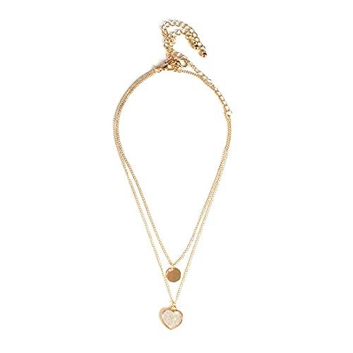 ZKF Señoras collar simple en forma de corazón patrón de cáñamo collar