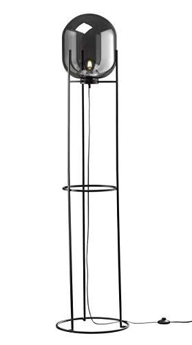 Fischer & Honsel Stehleuchte 1x E27 max.60W schwarz, Glas rauchfarben, D.40 H.170cm