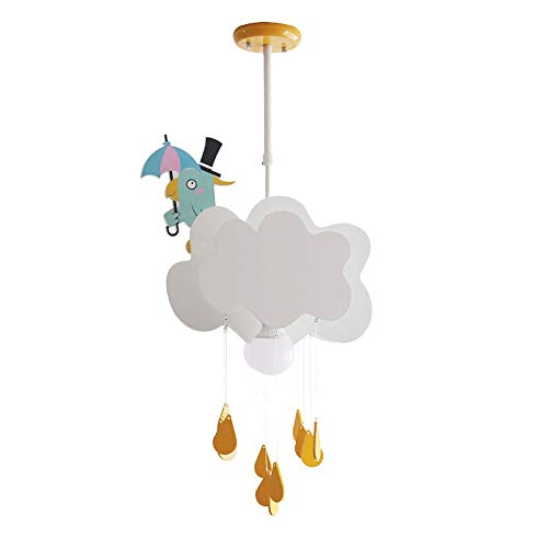 Nordic Cartoon Kids Cloud Raindrop Lustre Light, Lumières Suspendues En Bois De Résine, Plafonnier Simple Art Deco Plafonnier for Le Salon De La Chambre Des Enfants