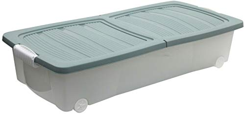 Yeer Under Bed Storage Box Large Storage Box Clear Stackable With Lid Wheels (Color : Green)