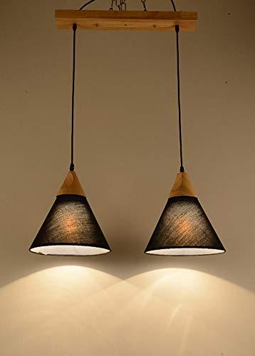 Home Creatief restaurant Moderne houten kluis minimalistische woonkamerdecoratie stof voor verlichting (kleur: zwart, maat: 25cm1heads)