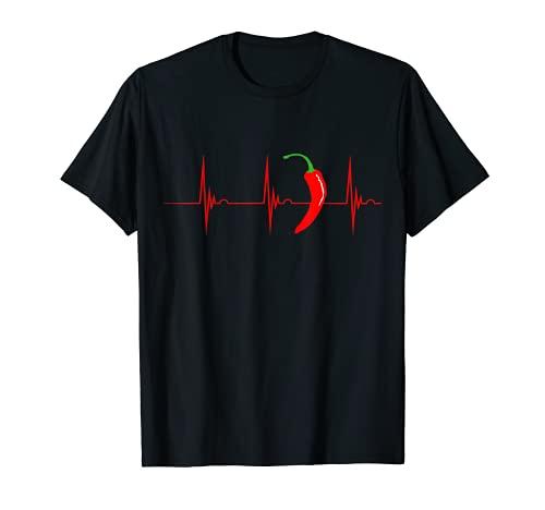Pepperoni Latido Del Corazón Pulso Pimienta Chile Jalapeño Camiseta