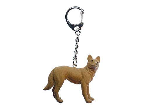 Miniblings Dingo Key Ring Australia Dog Wolf Outback Animal Brown Rubber