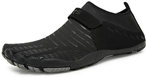 Herren Damen Outdoor Fitnessschuhe Barfußschuhe Trekking Schuhe Badeschuhe Schnell Trocknend rutschfest(Schwarz,39 EU)