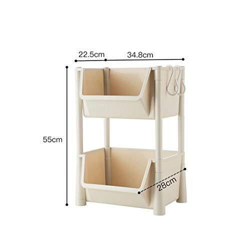 HUIQI Regal küche Küche Rack-Boden Mehrschichtige Storage Rack Gemüsespeicherkorb Removable Kleine Trolley 2/3/4 Schicht küchenwagen mit Rollen (Size : 55CM)